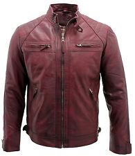 Men's Vintage Black, Tan, Burgundy, Black & Brown Leather Quilted Biker Jacket