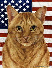 New listing Patriotic (2) House Flag - Orange Tabby Cat 32955