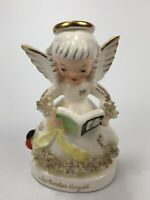 Vintage Napco Giftcraft Girl September Angel Figurine A1369 Gold Trim Japan AA