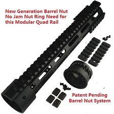 "223 5.56 Slim 12""  Extra Long Free Float Quad Rail Handguard Extra Rail New Nut"