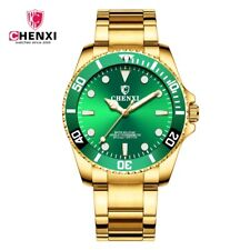 30m Waterproof Men's Yellow Gold Brand New Charming Green Business Quartz Watch
