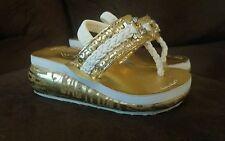 BABYPHAT WHITE & GOLD INFANT SANDALS size 5