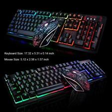 Gaming Keyboard And Mouse Combo Usb Wired RGB Backlight PC Laptop Accessories