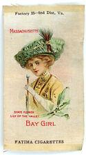 c1912 Fatima Cigarette Silk Bay Girl - Massachusetts Also State Flower