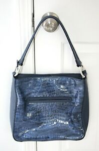 Brighton CHER Jewel Patent Croc Blue Leather Shoulder Bag  H36075 ~ New With Tag