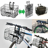 3X Folding Metal Wire Basket Front Bicycle Bike Storage Carrier Holder Rear Hang