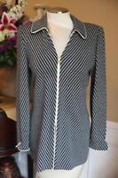 St John Collection santana knit black and white stripe jacket  4  (jo100
