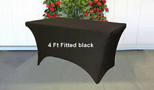 Trestle Table cover spandex Fitted Black to fit 4 foot market fair folding lycra