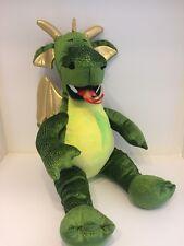 "Build a Bear ENCHANTED FIRE BREATHING Green DRAGON Plush Stuffed Animal 18"""