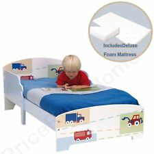 BOYS TODDLER BED VEHICLES CARS PATTERN + DELUXE FOAM MATTRESS FREE P+P