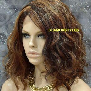 HUMAN HAIR BLEND LACE FRONT FULL WIG BOB WAVY LAYERED BROWN AUBURN MIX #P4.27.30