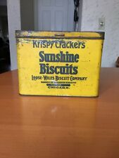 Primitive Antique Vtg Mustard Krispy Sunshine Biscuits Sodas Crackers Metal Tin