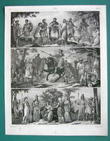 ANCIENT TRIBES Persia Armenia Syria Dacia Arabia - 1844 Antique Print Engraving
