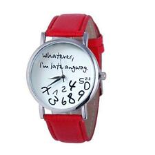 Hot Women Leather Watch Whatever I am Late Anyway Letter Watches RD