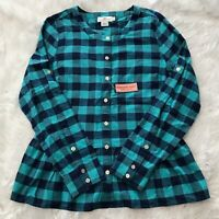 Vineyard Vines Womens Size 6 Long Sleeve Button Down Blue Plaid Flared Shirt NWT
