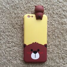 New Iphone 6/6s Yellow Hanging Brown Bear Slim Hybrid Fitted Cute Charm Case
