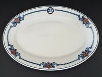 Syracuse China Small Oval Platter Plate OP Co Restaurant Diner Blue Red Floral