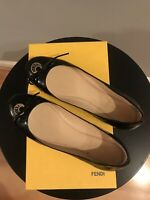 Fendi Gold Tone Logo Black Patent Leather Bow Ballerina Flat Shoes Size 37