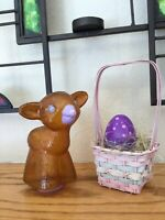 Vintage Hallmark Easter Plastic Lamb Treat Container And Tiny Easter Basket&Egg