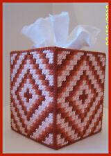 ORANGE WHITE BABY NURSERY HANDMADE PLASTIC CANVAS TISSUE BOX COVER TOPPER
