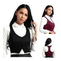 Women Button Racerback Slim Fit Vest Waistcoat Formal Dressy Suit Workwear Dress