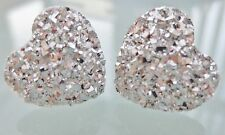 Small Sparkly Silver Heart Crystal Diamante Stud Earrings