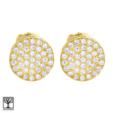 Men's Iced CZ 14K Gold Plated 9.5 mm 3D Round Screw Back Stud Earrings BE 029 G