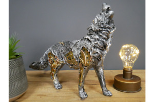 Detailed Steampunk Wolf Ornament   Resin   Silver with Gold Detail