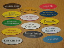Engraved Oval Name Badges - Your text, choice of colours, top quality