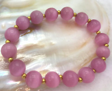 Charming 10mm Round Pink Mexican Opal Gemstone Bracelet 7.5Inch Y3431