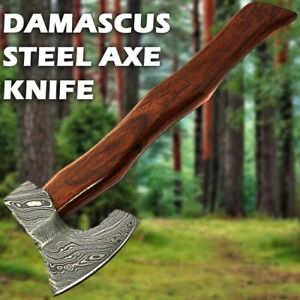 HANDMADE DAMASCUS STEEL HUNTING SMALL AXE KNIFE WOOD HANDLE WITH LEATHER SHEATH
