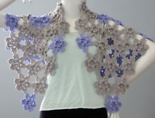 New Handmade Crochet Gray Purple Soft Acrylic Floral Shawl Wrap Scarf