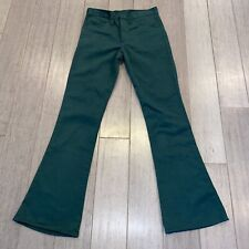 Vtg 60s 70s Sears Pants Flare Leg Disco Bell Bottom Green Jeans Joint Mens 30 32