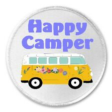"Happy Camper - 3"" Sew / Iron On Patch Bus Hippie Van RV Love Peace Gift Present"