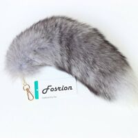 Authentic Silver Fox Tail Fur Handbag Accessories Key Chain Cosplay Toy