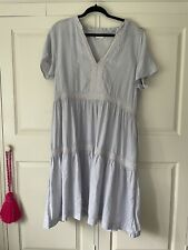 Pale Blue Linen Anokhi East Tiered Prairie Midi Dress Sz 16