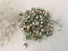 Swarovski #4428 Squares foiled 4x4mm Chrysolite Opal Craft Pack 12 Post Free