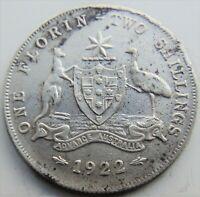 1922 AUSTRALIA George V, silver  Florin, Grading Good FINE / FINE.