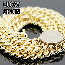 "30""14K GOLD PLATED MIAMI CUBAN LINK CHAIN NECKLACE 10MM 180g A 16"