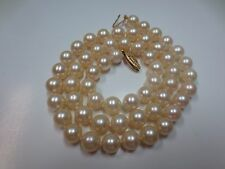 "Vtg 19"" Salt Water Pearl Necklace w/14K Yellow Gold Clasp Hand Knotted 7.75 mm"