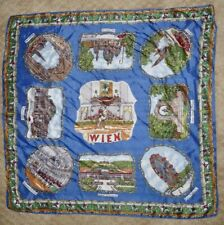"VINTAGE SCARF - WIEN GERMANY - TOURIST SOUVENIR TRAVEL SITES - 25"" SQUARE"