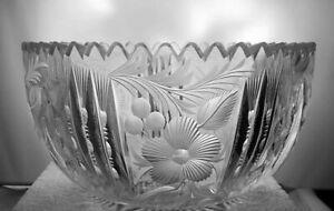 "Superb American Brilliant Period Cut Glass 8"" Bowl Intaglio w/ Notched Prisms NR"