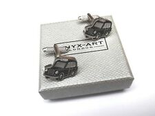 "Taxi Drivers ""BLACK TAXI CAB"" Black with Satin Silver CUFF LINKS in GIFT BOX-NEW"