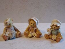 3 Cute Little Priscilla Hillman Teddy Bear Figurines 1993 Enesco