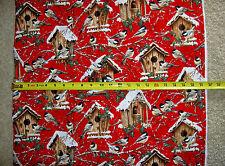 Chickadee chickadees bird birds house houses Dona 4262 TT RED fabric