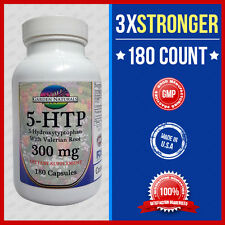 5-HTP 200mg Max +100=3x Stronger w/Val Root 180 Cap Weight Loss Mood Serotonin