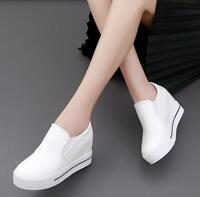 Women Platform Hidden Wedge Loafers Sneakers Slip On High Heels Shoes Zsell