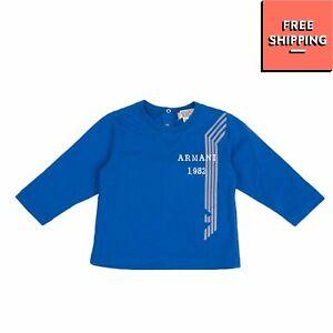 ARMANI BABY T-Shirt Top Size 3M / 56CM Coated Logo Long Sleeve Crew Neck