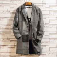 Mens Trench Coat Lapel Checked Jacket Plaid Tweed Overcoat Warm Winter Parka New