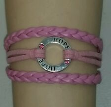 BREAST AWARENESS HOPE,LEATHER CHARM BRACELET-PINK - ANTIQUE SILVER - #36